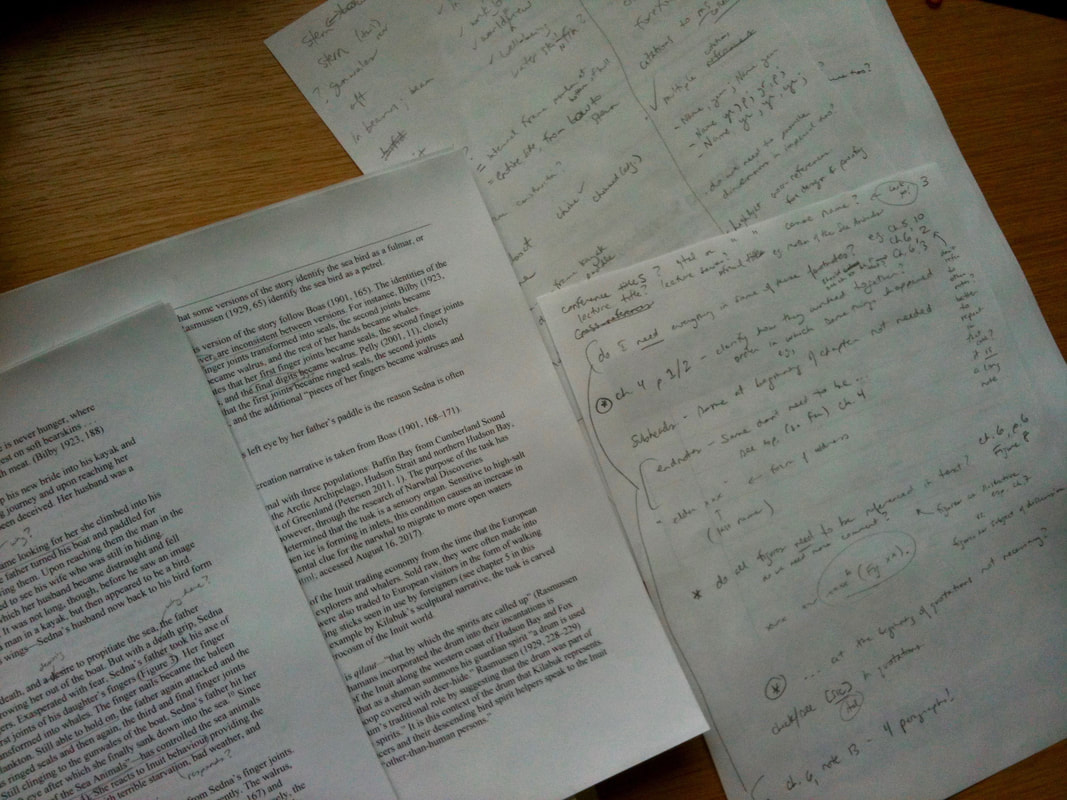 Picture of my desk--manuscript and notes.